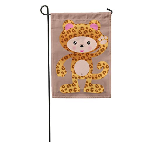 (Semtomn Garden Flag Anime Cute Leopard Cheetah Manga Halloween Zoo Adorable Africa African Home Yard House Decor Barnner Outdoor Stand 12x18 Inches)