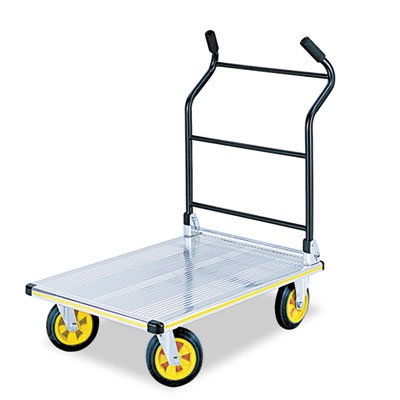 SAFCO PRODUCTS Stow-Away Platform Truck, 900lb Capacity, 24 x 39 x 40-3/4, Aluminum/Black, Sold as 1 (Safco Products Stowaway)