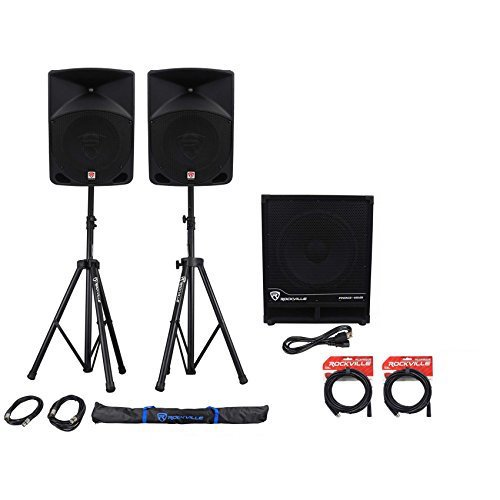 (2) Rockville RPG10 10'' Powered PA Speakers+Active 15'' Subwoofer+Stands+Cables by Rockville