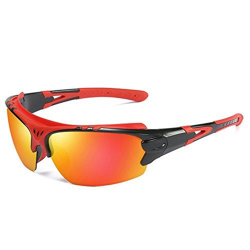 Aigemi Polarized Sports Sunglasses for Men Women Cycling Running Driving Fishing Golf Baseball (Black(Red)/Orange)