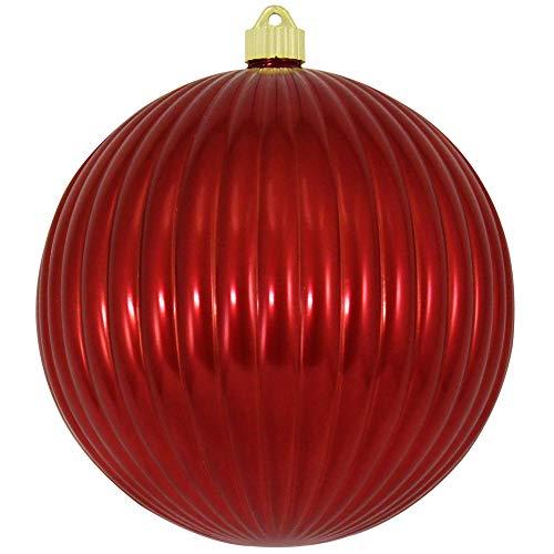 Christmas By Krebs KBX30671 Commercial Grade, UV-Resistant Shatterproof Christmas Ripple Ball Ornament, 8-Inch, Sonic Red