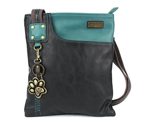 New Chala Crossbody SWING Bag Vegan Leather (Cat, Turtle, Owl, Dragonfly) Group (Teal- Paw) (Leather Dragon Green)