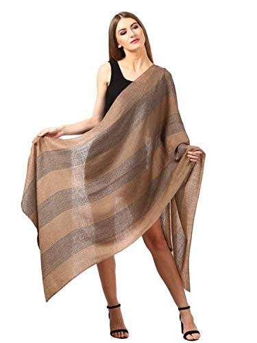 Women's Reversible Stole, with Stripes, Wool Pashmina (black and beige)