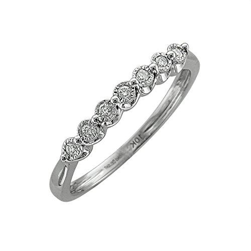 10k White Gold 7 Stone Flush Set Wedding/Anniversary Diamond Band Ring (0.04 Carat)