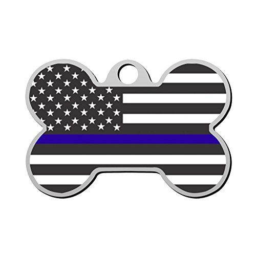 Etched Daisy - ANTON16 Thin Blue Line USA Flag Patriotic Police Pet Tag - Bone Shape Dog Cat Tag Sided Laser Etched Zinc Alloy Custom Engraved