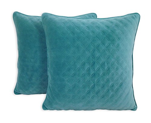 (Better Homes and Gardens Quilted Velvet Decorative Throw Pillow, Teal, 2 Pack )