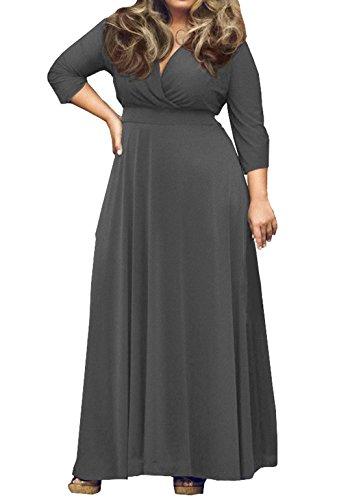 Vestiti 4 Solido Partito V 3 Sera Maxi Vestito Grigio Maniche Abiti Cerimonia Vestiti Taglie Abito Cocktail di Donna Colore Scollo da Forti E8ttZw