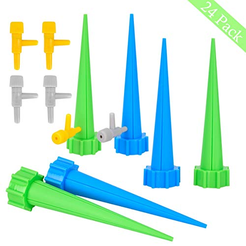 Legend Valve Company - LegendTech 24PCS Automatic Plant Watering Spike with 24PCS Controlling Valve Watering Drip Irrigation System Bottle Cone Self-Watering Adjustable Solid Durable