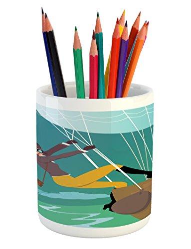 Explore Pencil Pen Holder by Ambesonne, Vintage Cartoon Style Explorer Spy Woman Figure Adventurer on a Hot Air Balloon, Printed Ceramic Pencil Pen Holder for Desk Office Accessory, Multicolor - Vintage Explorer