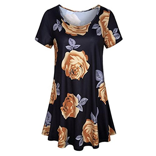 vermers Womens T-Shirt, Ladies Summer Fashion Short Sleeve O Neck Blouse Floral Tops (S, Black)
