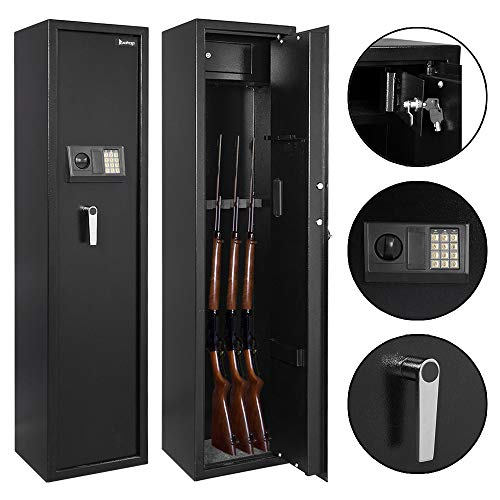 Goujxcy Gun Safe,Electronic 5 Rifle Gun Safe Large Firearms Shotgun Storage Cabinet,Black