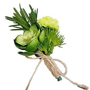 Yokoke Handmade Artificial Succulent Corsage Wristlet Realistic Cute Green Plants Boutonniere For Wedding Decor 4 Pcs 22