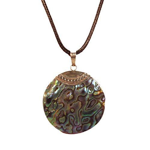 Abalone Shell 925 Sterling Silver Round Pendant Bali Bay Trading Co