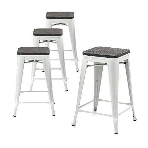 """Buschman Wooden Seat Counter High Tolix-Style Metal Bar Stools, Indoor/Outdoor, Stackable, 24"""" H, Matte White, Set of 4"""