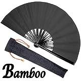 OMyTea Bamboo Large Rave Folding Hand Fan for Men/Women - Chinese...