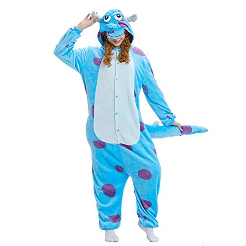 AILIUJUNBING Halloween Festival/Holiday Autumn Winter Card Love Cartoon Conjoined Pajamas Blue Cow Sullivan Winter u M for $<!--$37.00-->