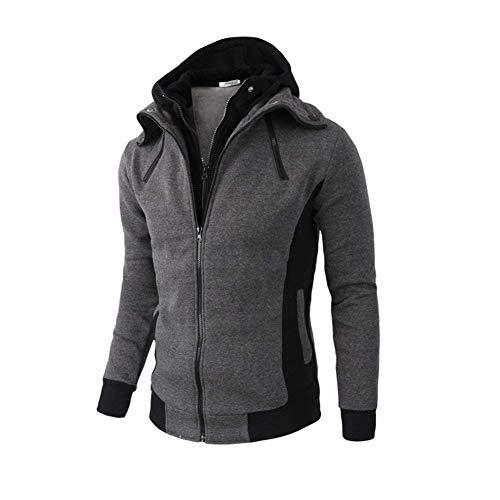 Coat Zipper Outerwear Hooded Sleeve Jacket Buttons Pockets Men's Coat Dunkelgrau Coat Apparel with Long Side Jackets qXxgf4Uw6