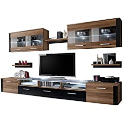 Concept Muebles Moon Contemporary Entertainment Centre/Modern and Spacious Wall Unit for Living Room – with or w/Out LED Lights (Plum Without LEDs)