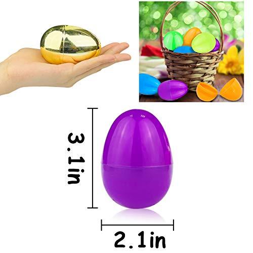 Easter Basket Stuffers 3.1 Inch Easter Party Favor Set 36 PCs Gold Metallic Easter Eggs