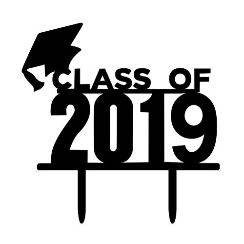 BESTOYARD Class of 2019 Cake Toppers Acrylic 2019 Graduation Cake Picks for Party Decoration
