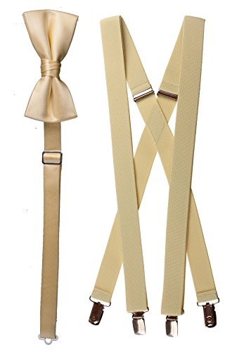 - Tuxgear Boys Bow Tie and Suspender Set Combo, Canary Yellow, Young Men 40 Inch (40