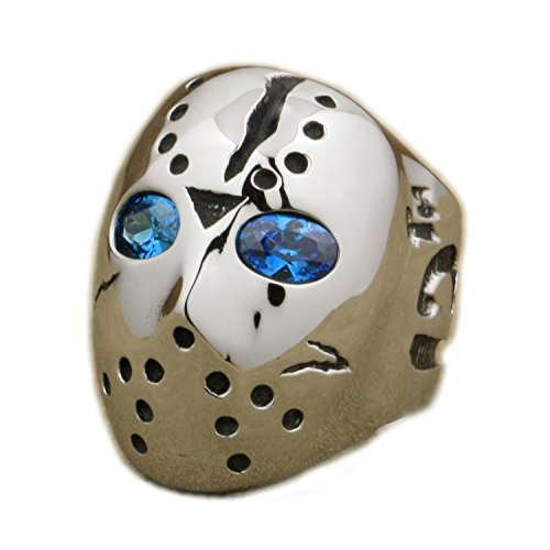LINSION Jason Monster Hockey Mask Ring 316L Stainless Steel Blue CZ Eyes Halloween Biker Jewerly 3F101 - Biker Halloween