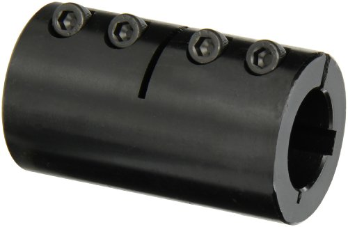 Climax Part ISCC-100-100-KW Mild Steel, Black Oxide Plating Clamping Coupling, 1 inch X 1 inch bore, 1 3/4 inch OD, 3 inch length, 1/4-28 x 5/8 Clamp Screw by Climax Metals