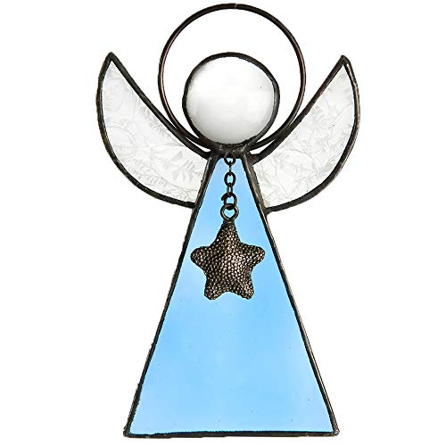 Angels Art Glass - J Devlin Orn 215 Series Stained Glass Angel Ornaments Window Christmas Tree Decor Gift (Pale Blue)