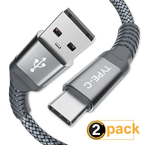 (USB Type C Cable, AkoaDa (2 Pack 6.6ft) USB to USB C Cable Nylon Braided Fast Charger Cord Compatible Samsung Galaxy S9 Note 9 8 S8 S10 Plus,Google Pixel XL 3,LG G7 thinq V20,Moto Z,Z3(Grey).)