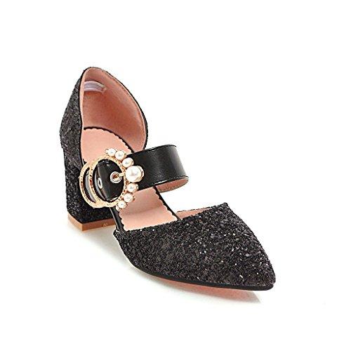 i donne elegante a lustrini sandali high scarpe e sandali heeled signore punta fibbie violento trentaquattro black sandali i sandali RqCZ6Z