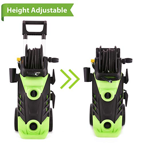 Homdox 3500 PSI Electric Pressure Washer 2.6 GPM Power Washer 1800W Electric Power Washer Cleaner with Hose Reel and 5 Nozzles Green