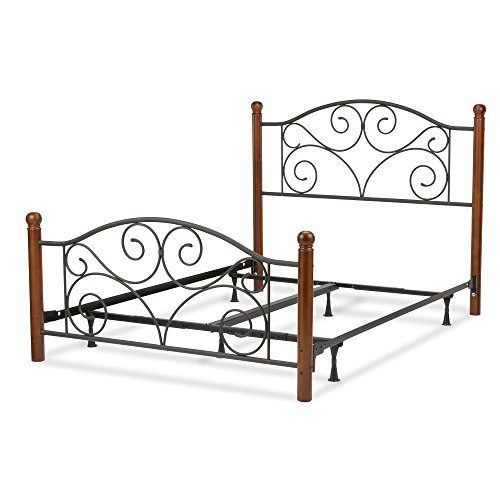 Doral Complete Bed with Metal Panels and Dark Walnut Wood Posts, Matte Black Finish, (Complete Queen Panel Bed)