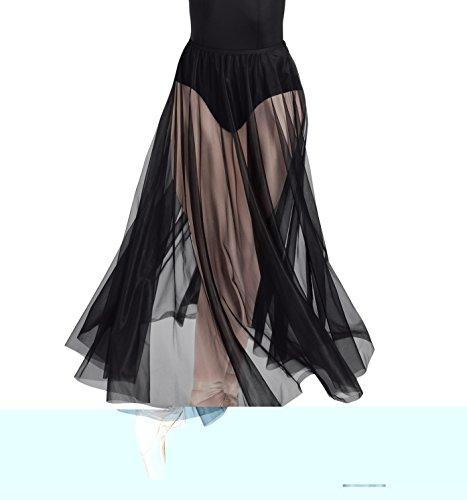 Body Wrappers Long Full Chiffon Skirt, White, Small/Medium