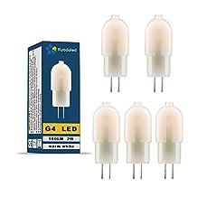 G4 LED Light Bulb 3000K Warm White, AC/DC 12V, 2W 150 Lumen, 15W Halogen Bulb Equivalent, Non-dimmable G4 Base Bi-Pin LED Bulb White for Range Hood Light, Pot Light, Puck Light, Landscape Lighting (Pack of 5)