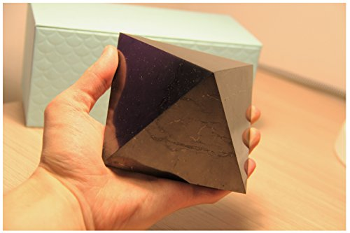Genuine Big Shungite Pyramid. 10 cm. Polished. Karelian Heritage Company, Crystal Pyramid PP08 - Black Pyramid Shape