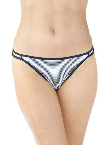 Vanity Fair Women's Illumination Body Shine String Bikini Panty 18108, Blues Stripe Print, Large/7