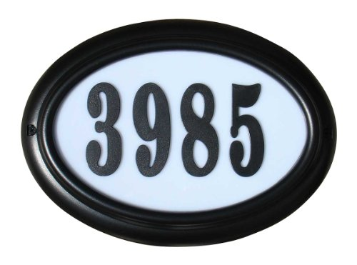 Oval Lighted Address Plaque - Qualarc LTO-1302BL-PN Edgewood Oval Lighted Address Plaque in Black Frame Color with 4-Inch Black Polymer Numbers