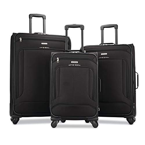 American Tourister Pop Max 3-Piece Softside (sp21/25/29) Luggage Set with Spinner Wheels, Black American Tourister Luggage Set