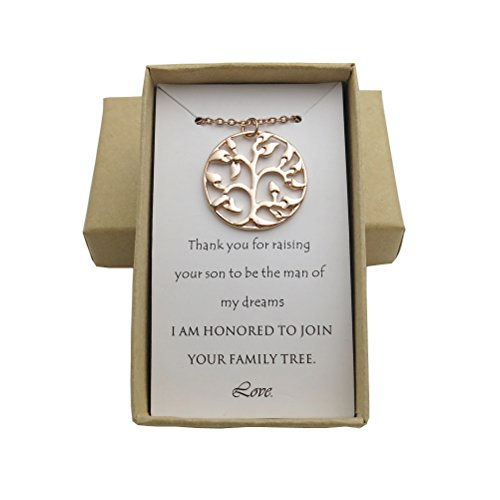 IDLAN Wedding Gifts Wedding Jewelry Mother of The Groom Necklace Family Tree Necklace (Rose gold)