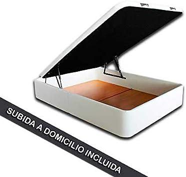 Ventadecolchones - Canapé Abatible Serena Gran Capacidad Tapizado en Polipiel Blanco Medidas 135 x 190 cm en Tejido 3D
