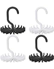 SENHAI 4 Pack Rotating Tie Rack Belt Hanger Organizer for Closet Men, with 20 Non-Slip Plastic Hooks - White, Black