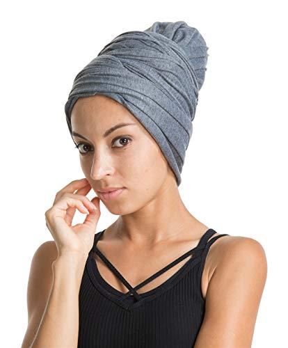 Turban Hat Headband Head Wrap - Dark Grey Magic Jersey Turbans HeadWrap Chemo Cap Tube Scarf Tie Hijab For Hair Muslim bohemian boho Black African Women by Genovega
