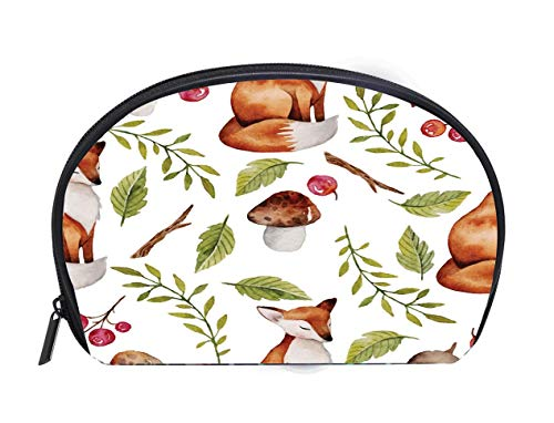 Custom design Portable Toiletry Cosmetic Bag Watercolor seamless pattern with fox mushrooms and other plants Travel Cosmetic Case Luxury Makeup Artist Bag