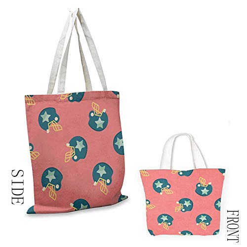 Reusable Headgear - Canvas craft tote Football Sports Icons with Stars Retro Display Game Safety Headgear reusable 16.5