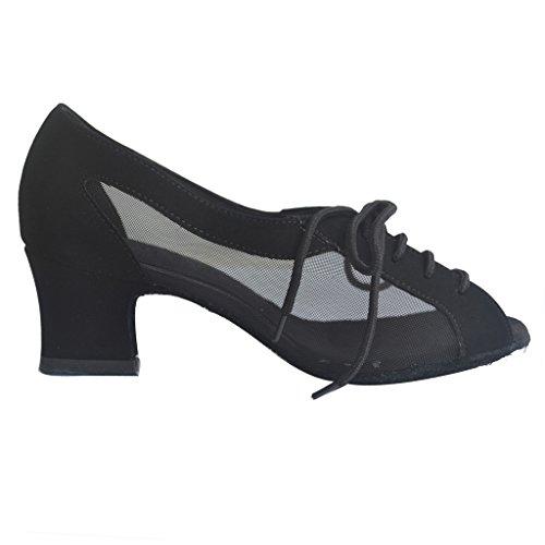 for Dance Ballroom Latin Women Black Foo Shoes Salsa Chacha Jig Practice Rumba 6TgzCq0w