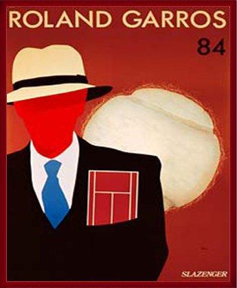 ポスター ラッツィア ローラン ギャロス 1984年 額装品 ウッドベーシックフレーム(レッド)