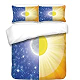iPrint 3Pcs Duvet Cover Set,Apartment Decor,Split Design with Stars in The Sky and Sun Beams Light Solar Balance Image,Blue Yellow,Best Bedding Gifts for Family/Friends