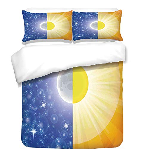 iPrint 3Pcs Duvet Cover Set,Apartment Decor,Split Design with Stars in The Sky and Sun Beams Light Solar Balance Image,Blue Yellow,Best Bedding Gifts for Family/Friends by iPrint