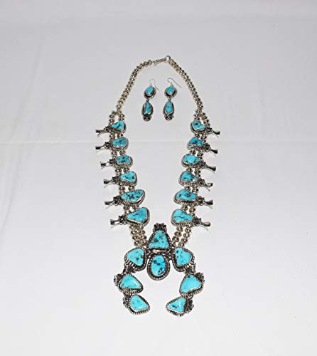 Authentic Traditional Navajo Squash Blossom Necklace with Genuine Morenci Turquoise and Matching Earrings ()