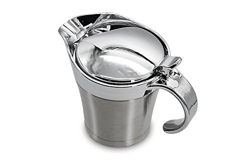 Premium Quality Stainless Steel Gravy Sauce & Dressing Boat By Nucookery - Double Insulated Wall & Electroplated Plastic Lid & Handle - 17 Oz Capacity - Wide Spout & Hinged Lid For Ease Of Use by Nucookery (Image #1)